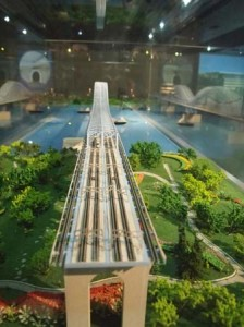 Head on view of the Nanjing Dashengguan bridge model.